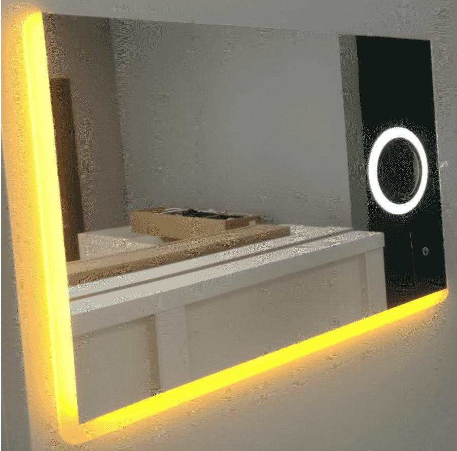Yellow Backlit LED Mirror Image